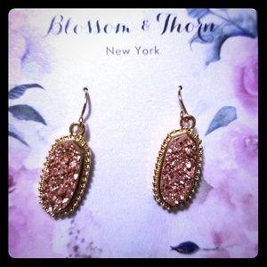 Rose Gold Druzy Earings Nickel Free